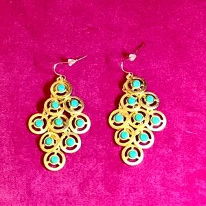 Jewelry - Gold and turquoise/green stone earrings